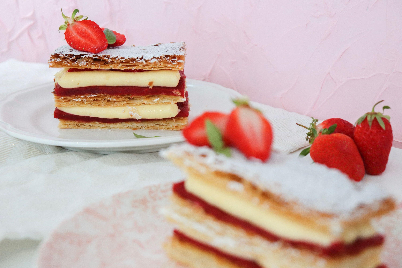 mille et unes fraises mille-feuilles fraises basilic recette patisserie léa patisseries inspirées